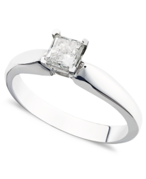 Diamond Ring, 14k White Gold Certified Diamond Princess Cut Solitaire Engagement Ring (3/8 ct. t.w.)