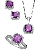 Macy's Sterling Silver Jewelry Set, Cushion Cut Amethyst Pendant, Earrings and Ring Set