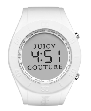 Juicy Couture Watch, Women's Digital Sport Couture White Rubber Strap 42mm 1900880