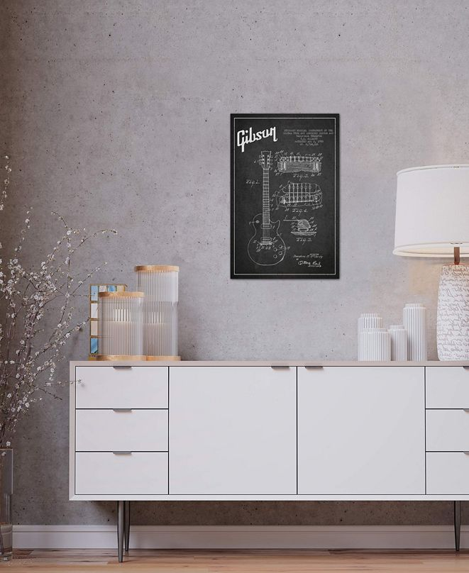 """iCanvas """"Gibson Guitar Charcoal Patent Blueprint"""" by Aged Pixel Gallery-Wrapped Canvas Print (26 x 18 x 0.75)"""