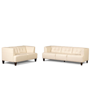 Alessia Leather Sofas 2 Piece Set Sofa And Loveseat
