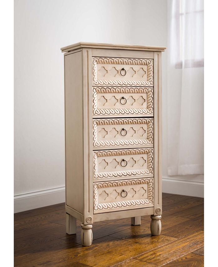 Hives & Honey - Abby Antique Ivory Jewelry Armoire