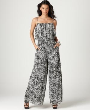 BCBGeneration Jumpsuit, Sleeveless Straight Ruffle Printed Pocket Chiffon Wide Leg