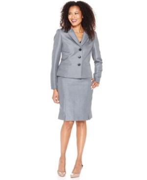 Kasper Suit, Foldover Collar Jacket & Pleated Hem Skirt