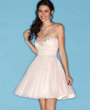 Morgan Dress, Strapless Sweetheart Pleated Beaded A-Line
