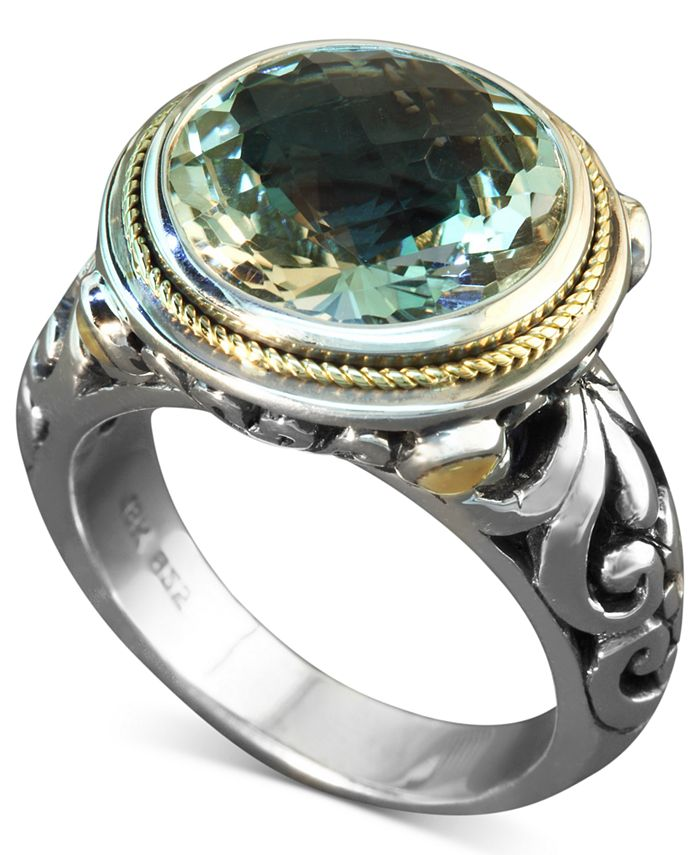 EFFY Collection - Green Quartz Round Ring (5 ct. t.w.) in Sterling Silver and 18k Gold