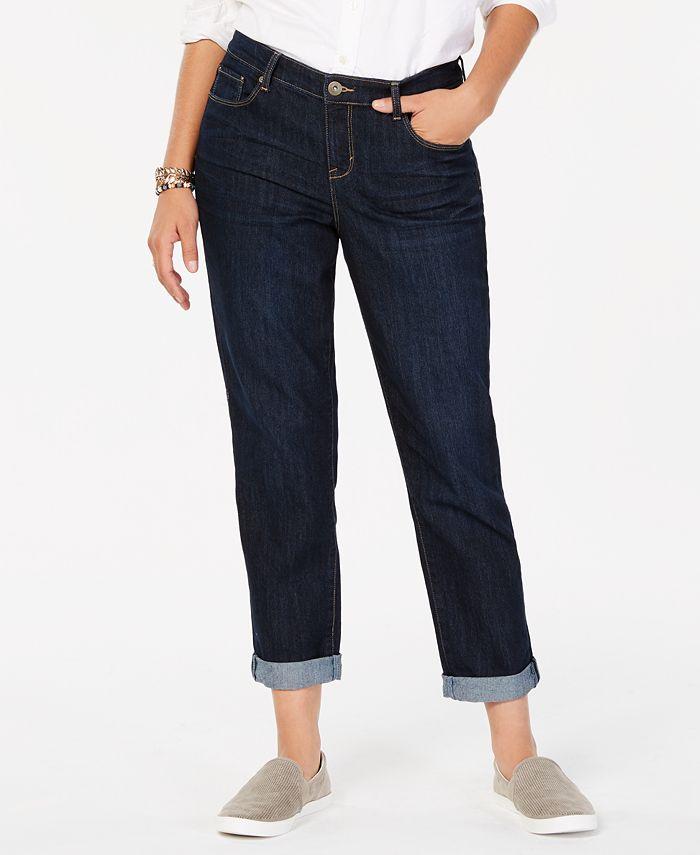 Style & Co - Jeans, Curvy-Fit Cuffed Ex-Boyfriend, Caneel Wash
