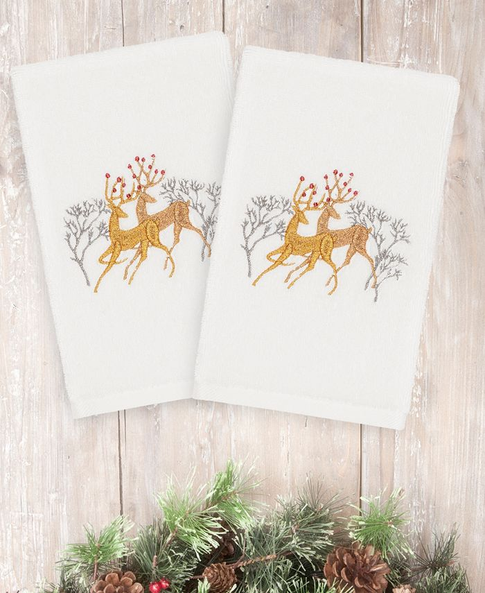 Linum Home - Christmas Deer Pair 100% Turkish Cotton 2-Pc. Hand Towel Set