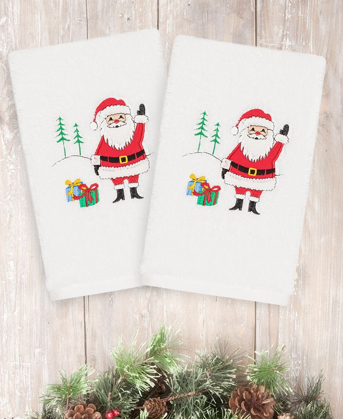 Linum Home - Christmas Santa Waving 100% Turkish Cotton 2-Pc. Hand Towel Set