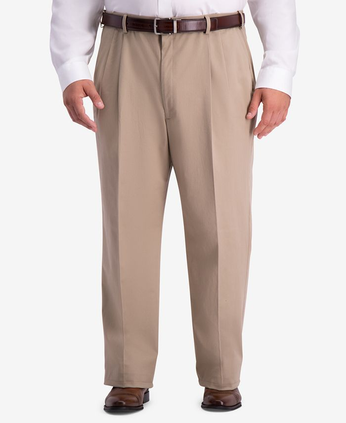 Haggar - Men's Big & Tall W2W PRO Relaxed-Fit Performance Stretch Non-Iron Pleated Casual Pants