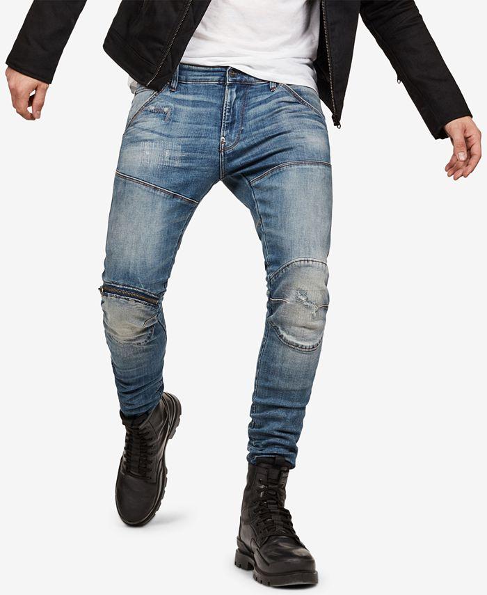 G-Star Raw - Mens Zip-Knee Skinny Fit Moto Jeans
