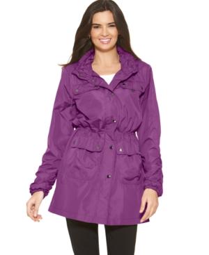 Alfani Coat, Long Sleeve Ruched Four Pocket Anorak