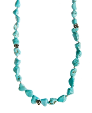 Lucky Brand Necklace, Reconstituted Turquoise Long Necklace