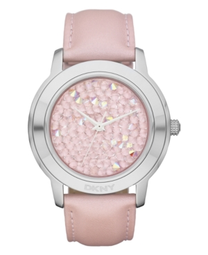 DKNY Watch, Women's Pink Leather Strap 44mm NY8476