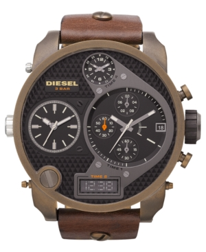 Diesel Watch, Analog Digital Brown Leather Strap 46x57mm DZ7246