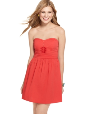 Be Bop Dress, Strapless Sweetheart Pleated A-Line