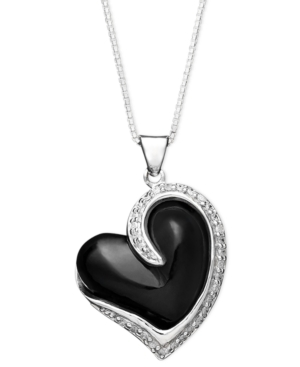 Sterling Silver Necklace, Onyx (15 mm) and White Topaz (1-1/2 ct. t.w.) Heart Pendant