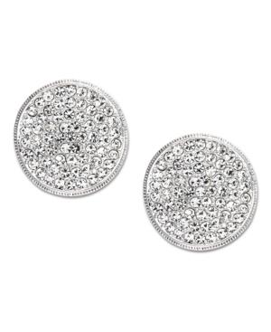 Eliot Danori Earrings, Silver Tone Crystal Disc Stud Earrings