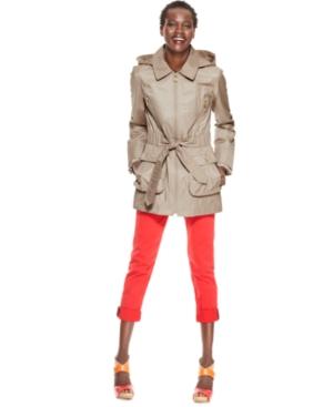 Betsey Johnson Jacket, Hooded Ruffled Utility