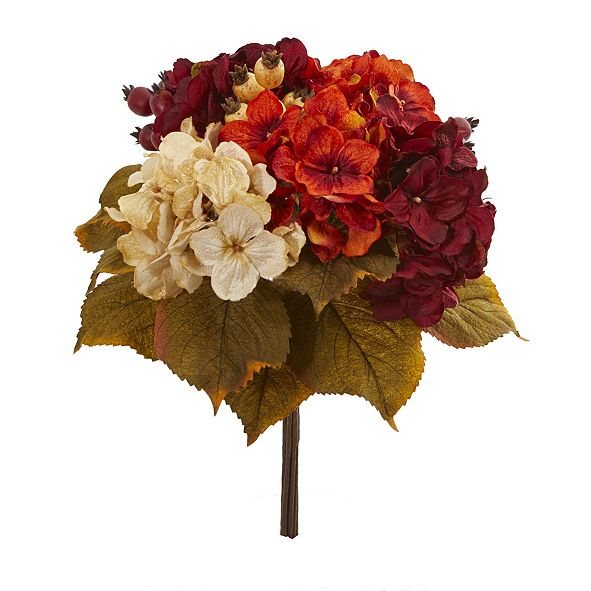 Nearly Natural 16-In. Autumn Hydrangea Berry Bouquet Artificial Flower, Set of 2