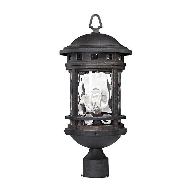 ELK Lighting Costa Mesa 1 Light Outdoor Post Lantern in Weathered Charcoal