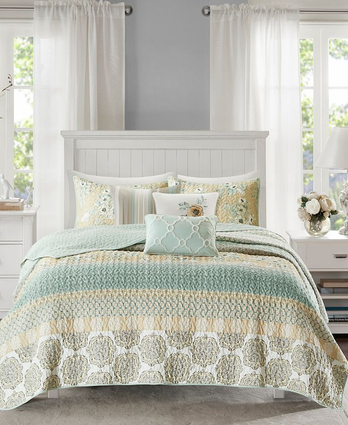 Madison Park - Willa 6-Pc King/Cal King Cotton Sateen Printed Quilted Coverlet Set
