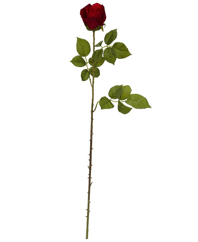 """Nearly Natural 33"""" Elegant Red Rose Bud Artificial Flower, Set of 6"""