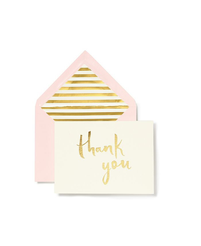 Kate Spade - KSNY Note Card Set Thank You Blush With Gold