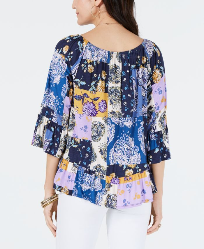 Style & Co Petite Printed Off-The-Shoulder Top, Created for Macy's  & Reviews - Tops - Petites - Macy's