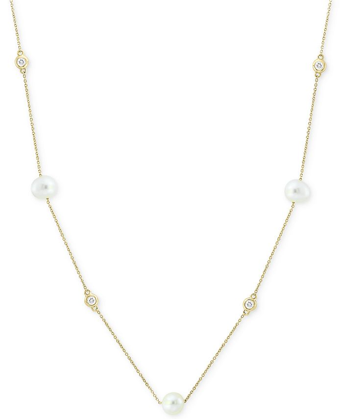"""EFFY Collection - Cultured Freshwater Pearl (5-1/2mm) & Diamond (1/8 ct. t.w.)  18"""" Station Necklace in 14k Gold"""