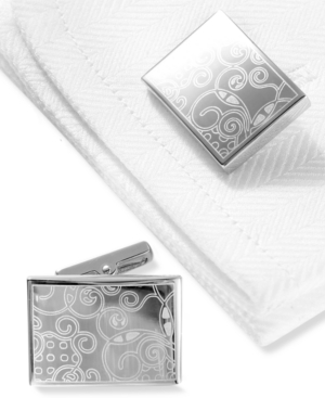 Kenneth Cole New York Cufflinks, Laser Tag Polished Rhodium