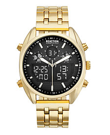 Kenneth Cole Reaction Men's Analog-Digital Gold-Tone Stainless Steel Bracelet Watch 45mm