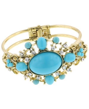 2028 Bracelet, Gold Tone Turquoise Acrylic Cuff Bracelet