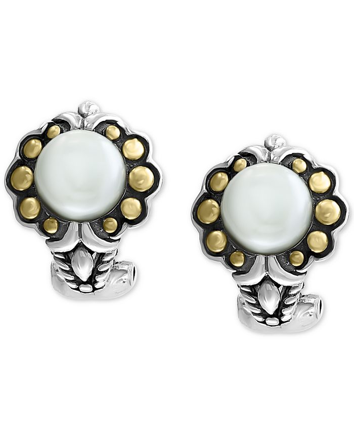 EFFY Collection - Cultured Freshwater Pearl (7mm) Flower Stud Earrings in Sterling Silver & 18k Gold Over Silver