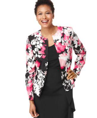 Kasper Jacket, Collarless Floral Printed Shantung