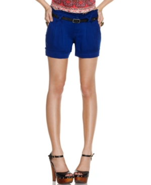 Be Bop Shorts, Pleated Ruffled Belted Cuffed