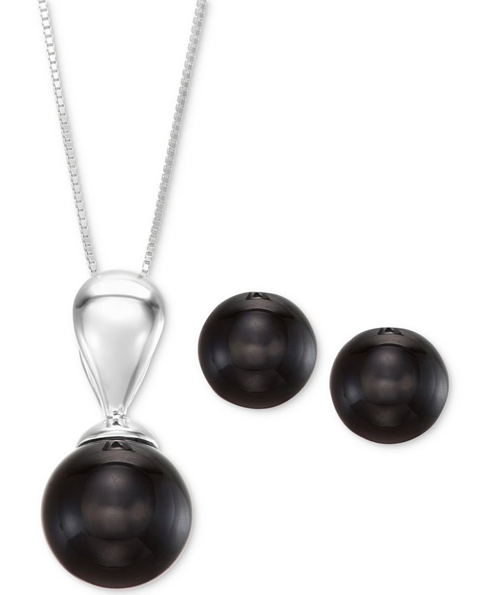 Macy's - 2-Pc. Set Onyx (10 & 12mm) Pendant Necklace and Matching Stud Earrings in Sterling Silver