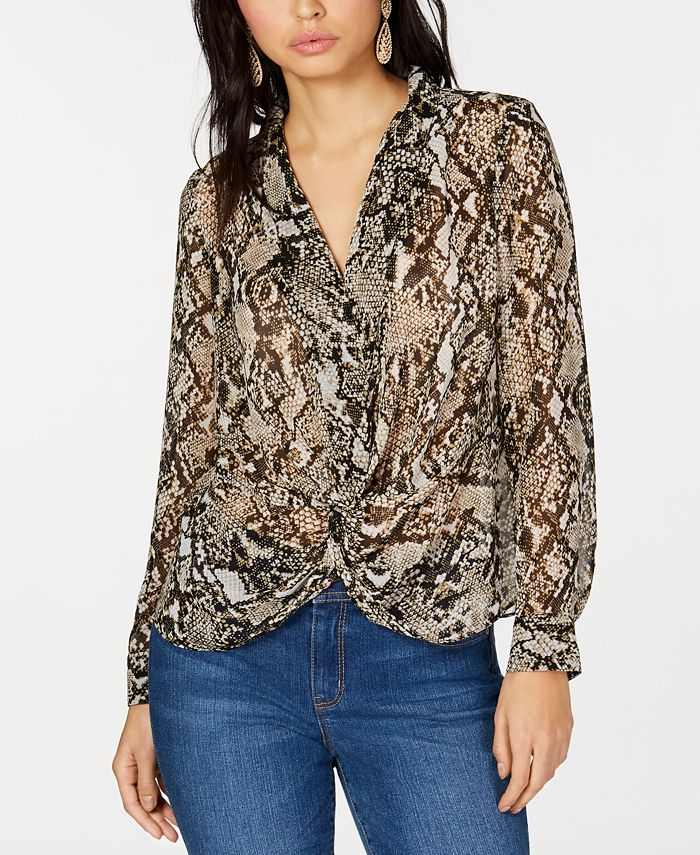 INC International Concepts - Twisted Snake-Embossed Top