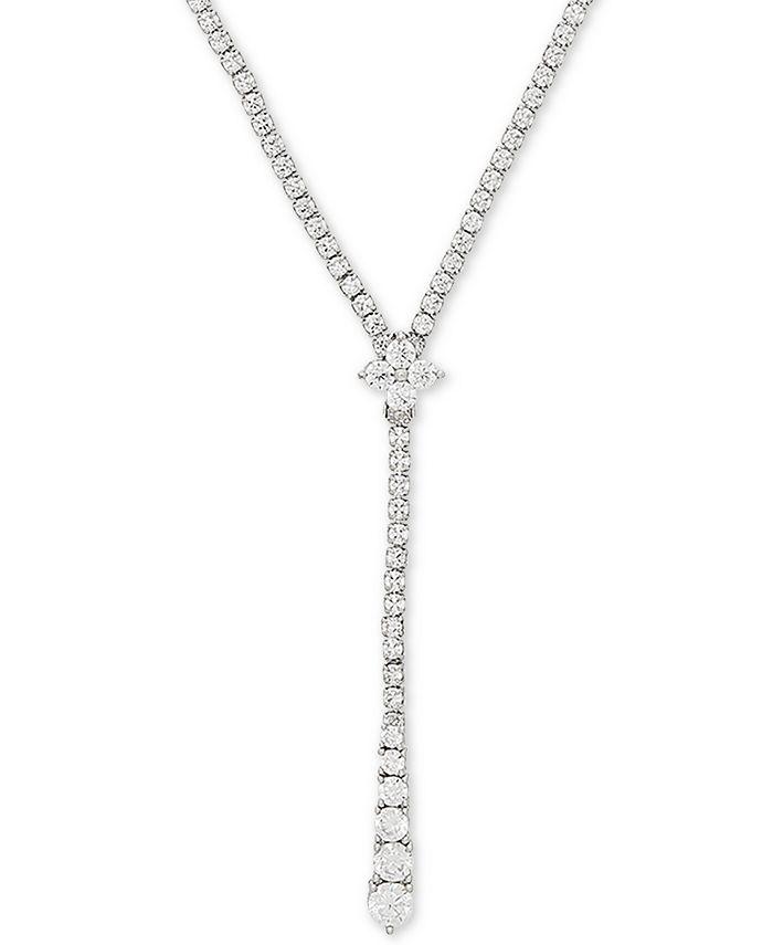 """Arabella - Swarovski Zirconia 17"""" Lariat Necklace in Sterling Silver"""