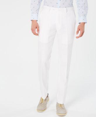 Bar III Men's Slim-Fit White Suit Pants