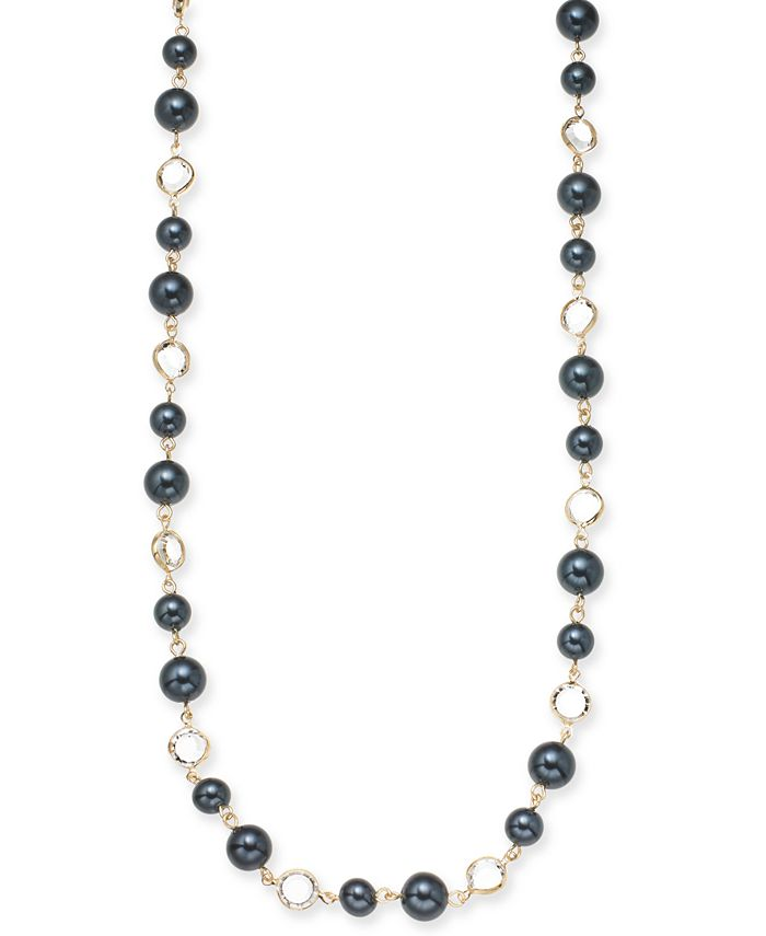 """Charter Club - Gold-Tone Crystal & Colored Imitation Pearl Strand Necklace, 42"""" + 2"""" extender"""