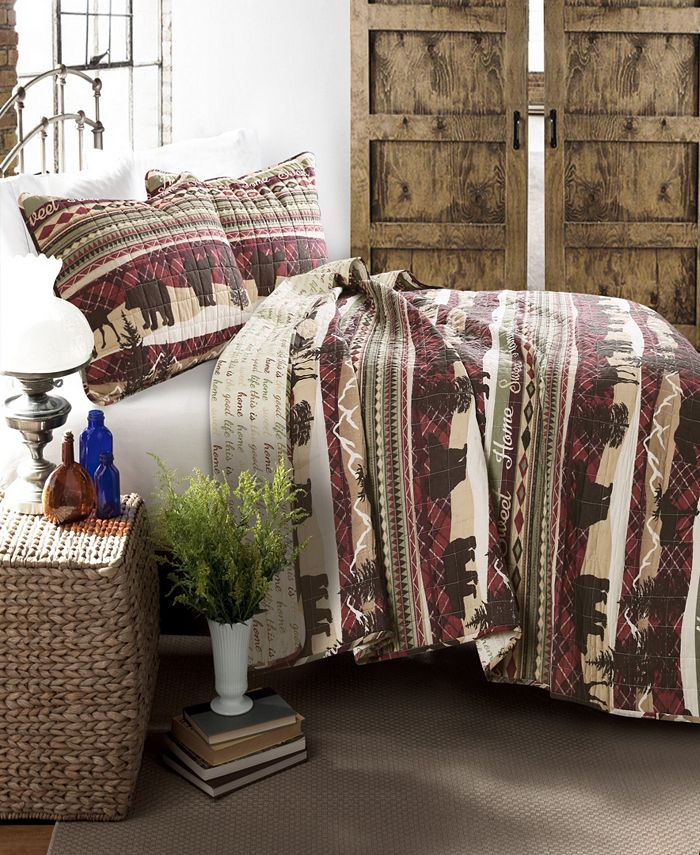 Lush Décor - Holiday Lodge Brown 3-Pc. Quilt Sets