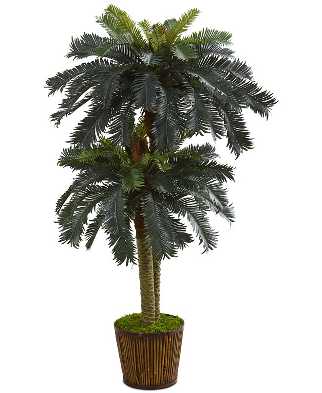 Nearly Natural 5.5' Double Sago Palm Artificial Tree in Wood Planter