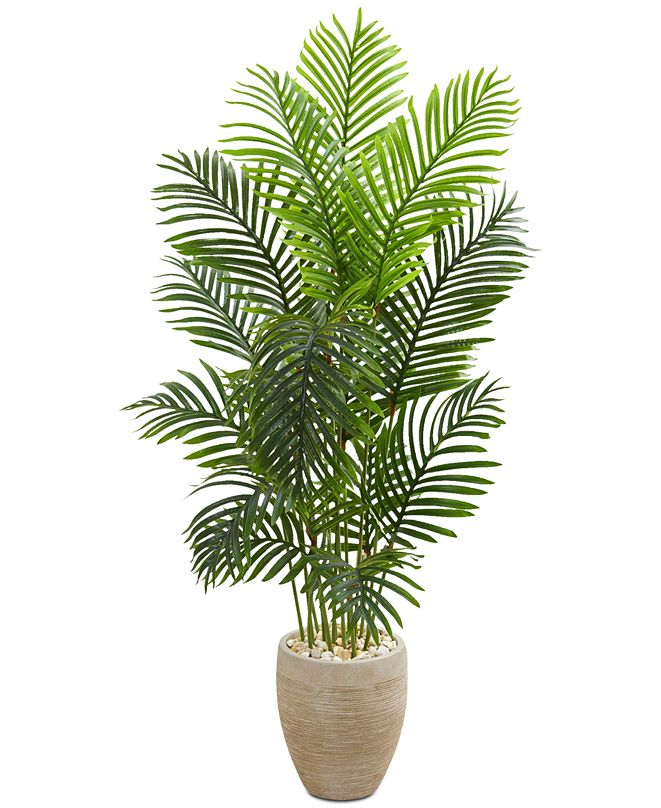Nearly Natural 5' Paradise Palm Artificial Tree in Sand-Colored Planter