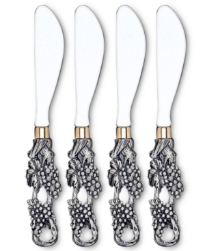 "Arthur Court ""Grape"" Cheese Spreaders, Set of 4"