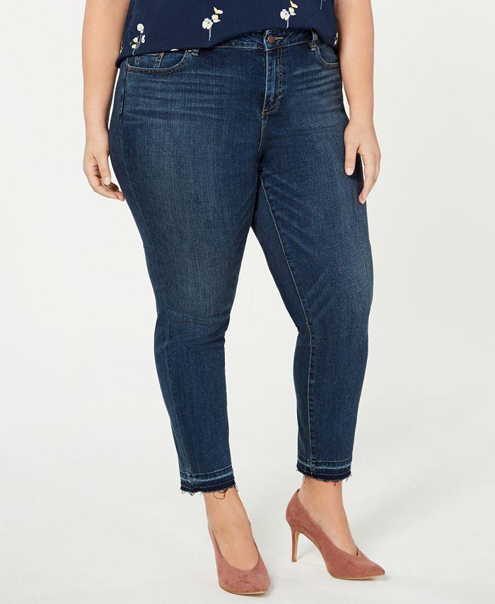 Vince Camuto - Plus Size Frayed-Hem Skinny Jeans