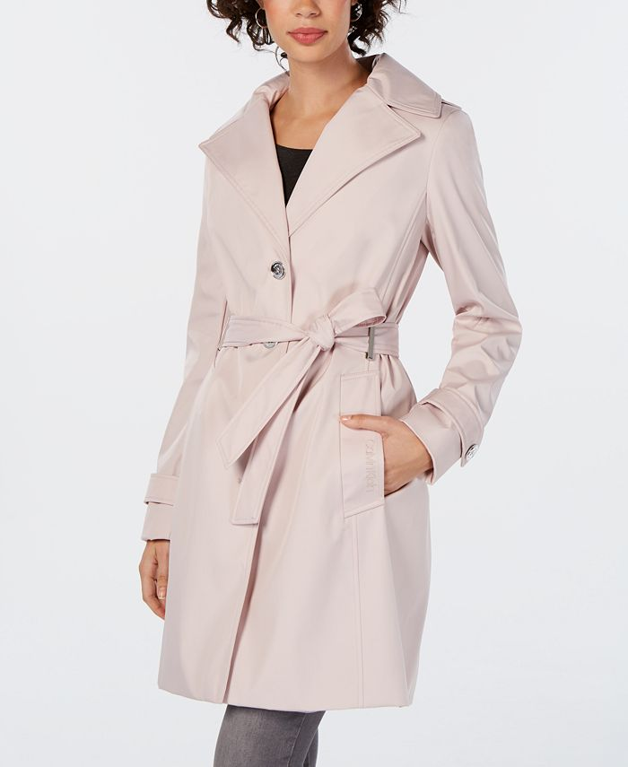 Calvin Klein - Petite Belted Hooded Trench Coat