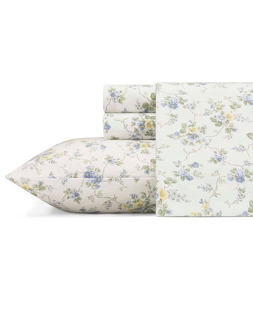 Laura Ashley Le Fleur Lt Pastel Blue King Flannel Sheet Set Reviews Sheets Pillowcases Bed Bath Macy S