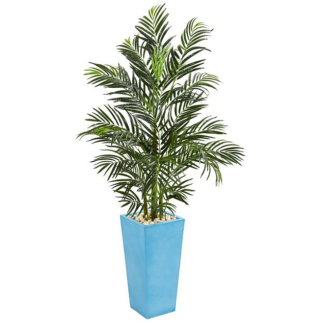 Nearly Natural 5' Areca Palm Artificial Tree in Turquoise Planter