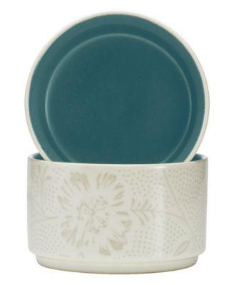 Noritake Dinnerware, Set of 2 Colorwave Turquoise Bloom Stacking Bowls